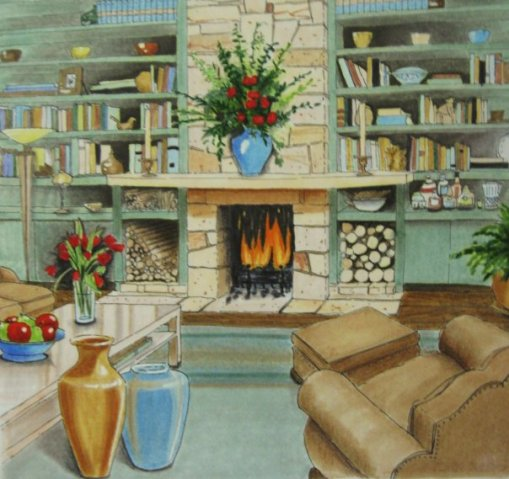 Living Room Elevation, prisma on vellum
