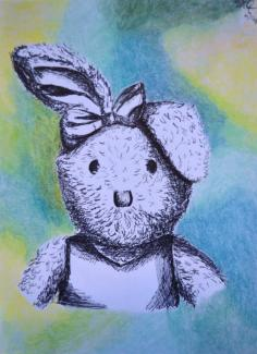 Child's Bunny, prisma and ink