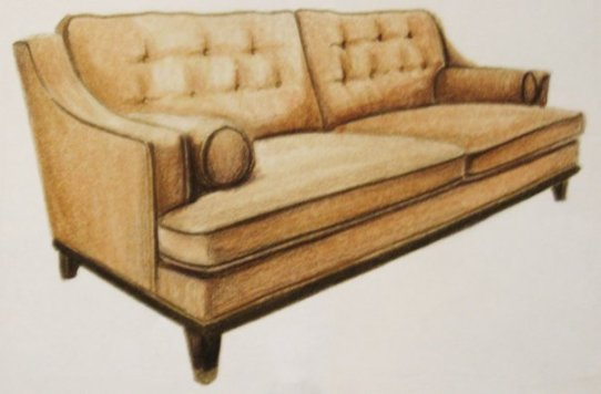 Sofa, prisma on vellum